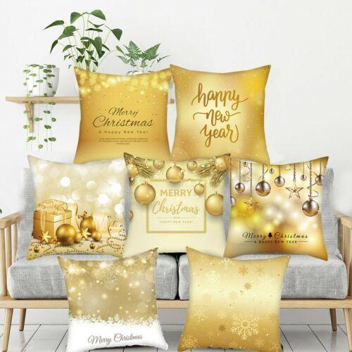 Gold Merry Christmas Pillow Cases Nordic Sofa Cushion Cover Car Home Decor Xmas