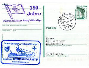 1996 German Canot De Sauvetage Hermann Rudolf Meyer Navire Cached Pre Paid Carte Postale-afficher Le Titre D'origine