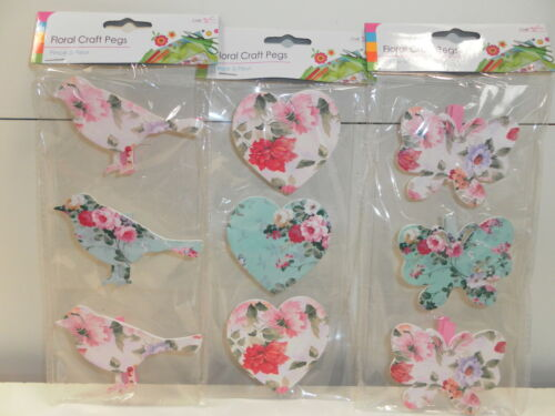 FLORAL CRAFT PEGS PACK OF 3 BNWT-DESIGNS:BUTTERFLY/BIRD/HEART CHRISTMAS BIRTHDAY