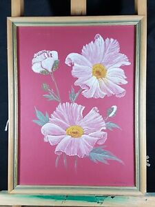 STILL-LIFE-LOVELY-PEONY-FLOWERS-WATERCOLOUR-PAINTING-SIGNED-A-NOBLE