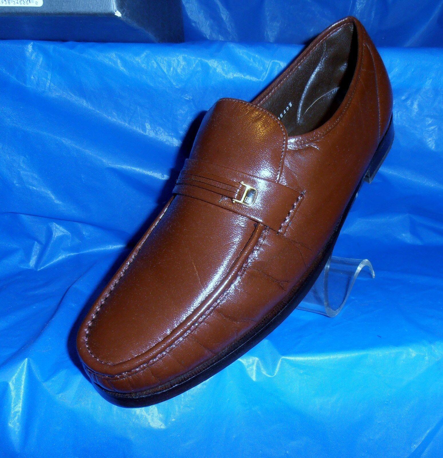 Florsheim Dancer  Cognac Brown Moc Toe Leather Loafer with Leather Sole 13 D Scarpe classiche da uomo