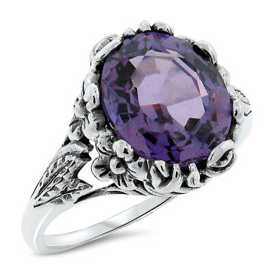COLOR CHANGING LAB ALEXANDRITE ANTIQUE DESIGN .925 SILVER RING SIZE 9 #498