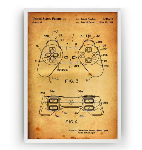 Playstation Controller Patent Print Art Poster Wall Decor Gift Unframed