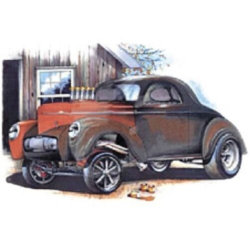 1941 Willys Nostalgia Gasser Drag Race Car Art by Brent Gill T SHIRT M TO 4XL