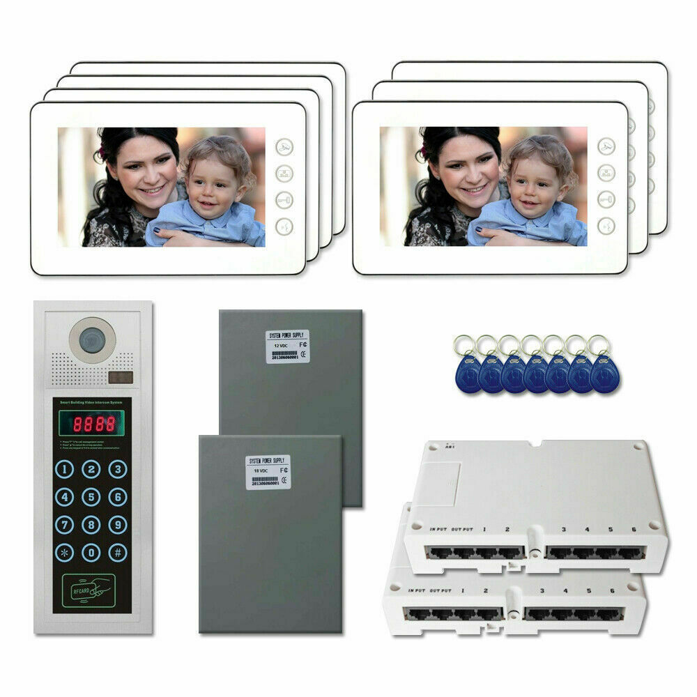 """Touchscreen//surface mount video door intercom system//16 Shades//4-Wire 7/"""" Monitor//Memory"""