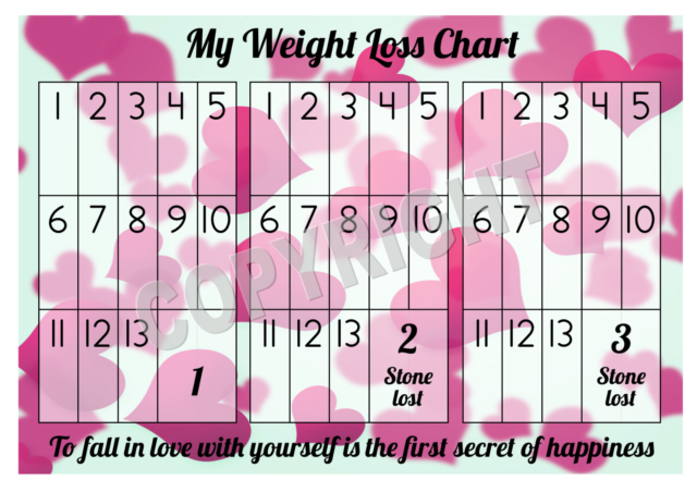 A4 Weight Loss Chart 3 Stone 1 Sheet Of Stickers Hearts Design