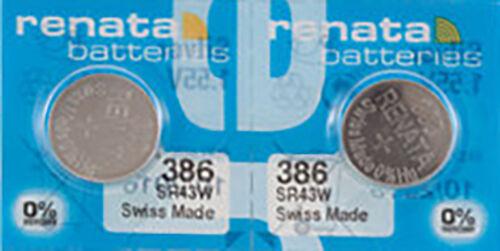 2 x Renata 386 Watch Batteries, 0% MERCURY equivalent SR43W, Swiss Made