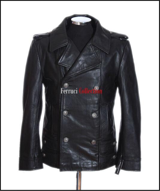 Men's German Black Naval Military Analine Cowhide Real Leather Jacket Pea Coat