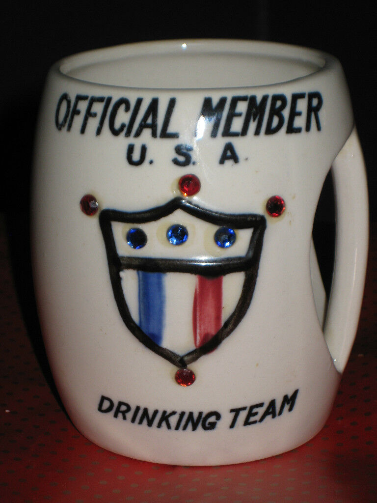 Vintage 1957 Official Memeber USA Drinking Team Mug St Pierre Patterson RARE
