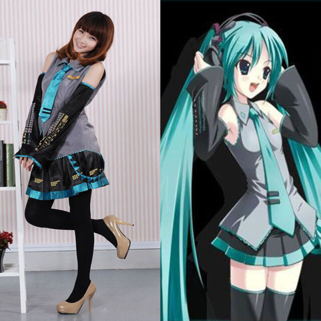 Hatsune Miku Christmas Outfit.Anime Hatsune Miku Vocaloid Halloween Cosplay Costume Wig Tops Dress Tie Outfit