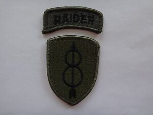 2-Merrowed-Edge-Subdued-Patches-RAIDER-US-8th-INFANTRY-DIVISION-Unused