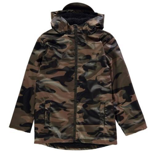Firetrap Kids Boys PU Rain Mac Junior Jacket Coat Top Long Sleeve Lightweight