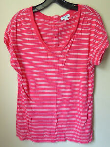 a26a66f8 Old Navy Womens Short Sleeve Shirt, Large, Pink White Stripe, L Top ...