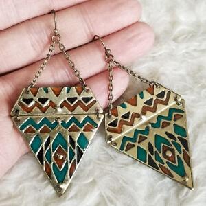 Bohemian Womens Antique-Tone Teardrop Plate ORANGE  Beads Dangle Hook Earrings