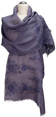 Schal Leinen, Foulard Dunkelblau bestickt Sommer scarf linen dark blue summer