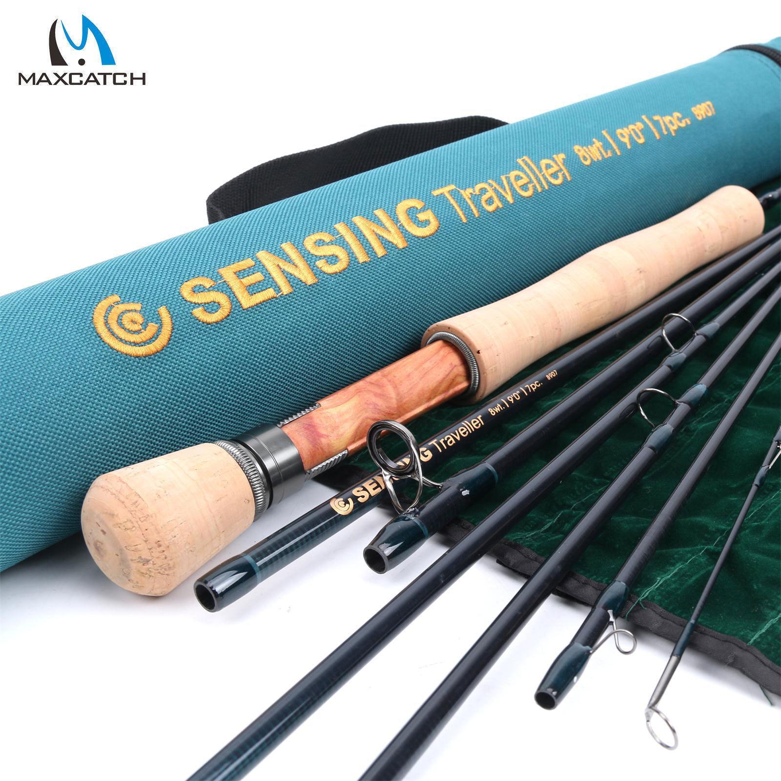 Maxcatch Fly Fishing Rod rilevamento Traveler 5678wt 9ft 7pcs MediumFast & TUBO