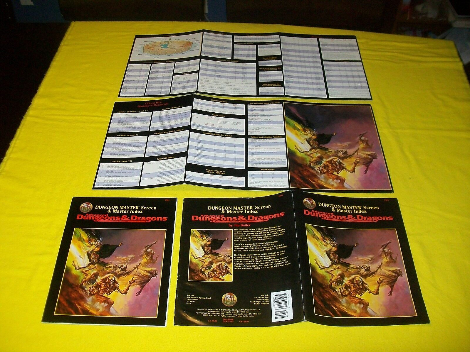 DUNGEON MASTER SCREEN & MASTER INDEX DUNGEONS & DRAGONS AD&D TSR 9504 - 2