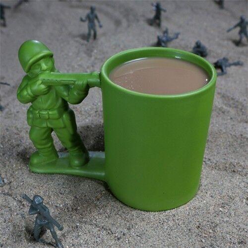12 Oz Green Army Man Coffee Mug Tea Hot Chocolate Ceramic Cup Dishwasher Safe