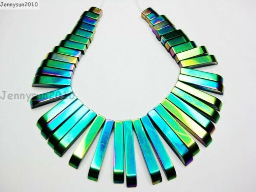 Natural hematite Gemstone Graduated 41Pcs Stick Beads Pendentif Set Multicolore