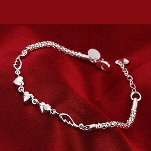 Das Bild wird geladen 925-Sterling-Silber-Armband-Bettelarmband-Herz-Charm- Armreif- 397fc1dd21