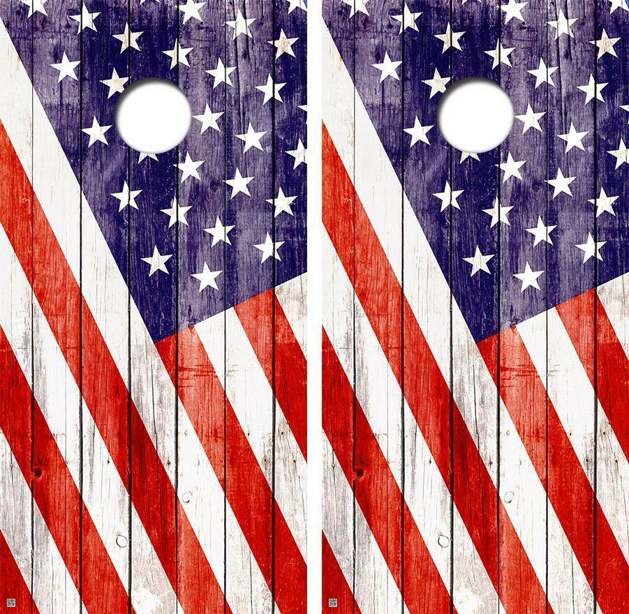 Old Glory Diagnal Vintage Cornhole Board Skin Wrap  FREE SQUEEGEE  best quality best price