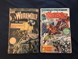WEREWOLF-BY-NIGHT-33-amp-37-Lot-of-2-2nd-amp-3rd-MOON-KNIGHT-low-grade-readers