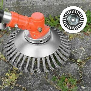 UK-Solid-Steel-Wire-Wheel-Garden-Weed-Brush-Lawn-Mower-Head-Outdoor-Trimmer-HOT