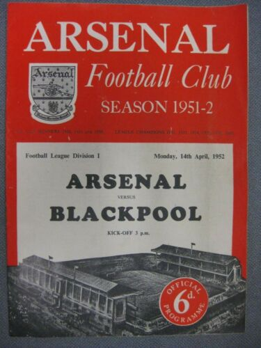 Arsenal v Blackpool 195152 Programme