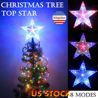 Led Tree Topper Star Christmas Decorations Top Xmas Star Light Up Glitter Gift Ebay