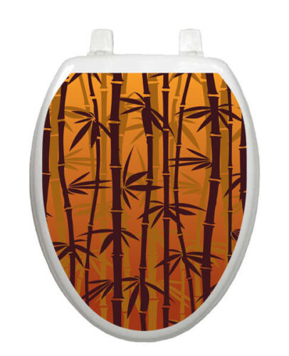 Toilet Tattoos Toilet Seat Lid  Decor Bronzed  Bamboo Lid Cover  Brown Reusable