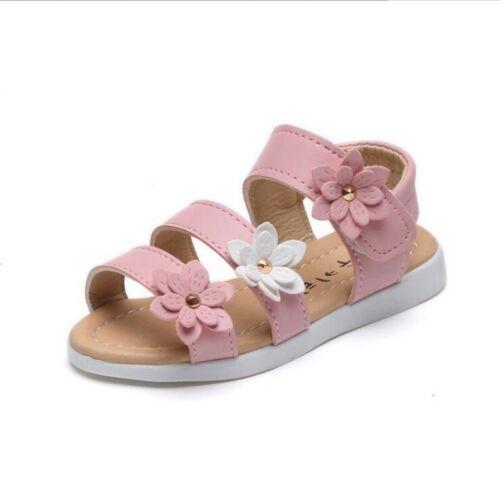 Summer Kids Girl Children Sandals Beach Flower Girls Flat Heel Princess Shoes SZ
