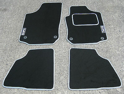 Car Mats in Black/Silver to fit Vauxhall Corsa C (00-06) + SRi Logos + Fixings