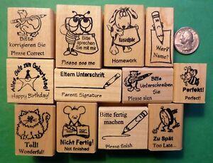 Teacher-039-s-German-English-12-Piece-Rubber-Stamp-Assortment