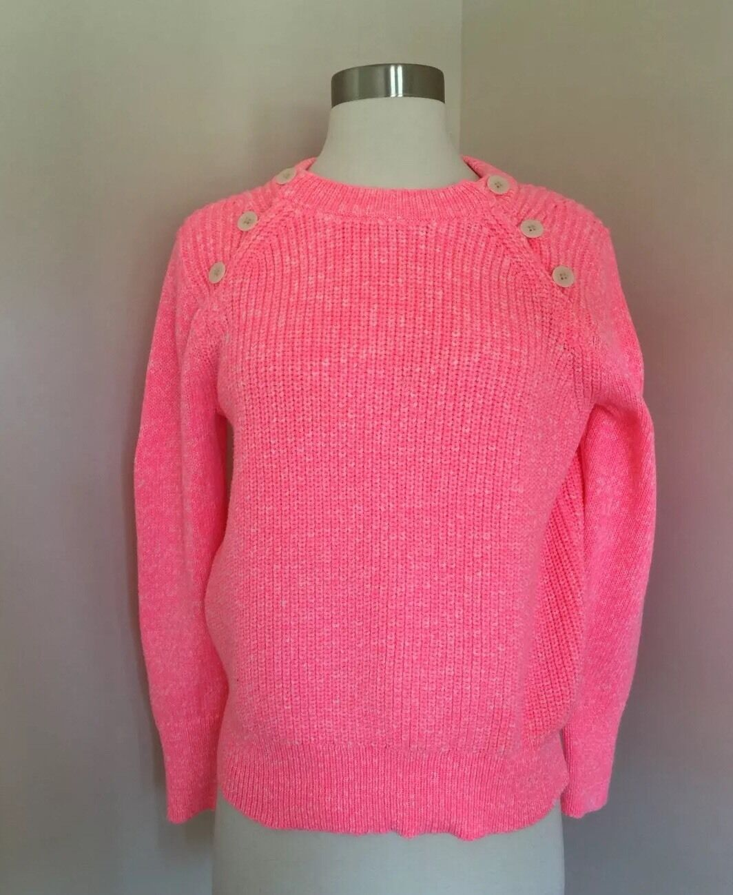 JCREW Textured Sweater Anchor Button Variegated Pink Neon Sz S G0248 NWT