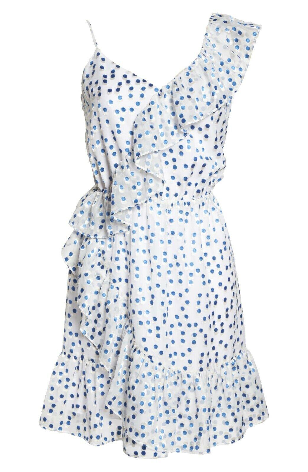 nyA Lilly Pulitzer XL Klättra Madelina blå vit Polka Dot Ruffle Slieveless