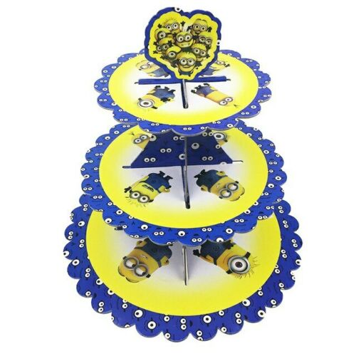 MINION DESPICABLE ME STUART DAVE 3 Tier Cupcake Stand Muffin Holder Cardboard