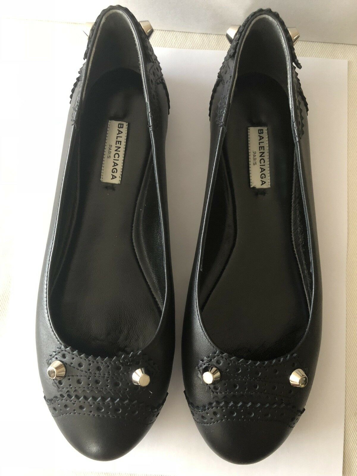 BALENCIAGA Black Leather w Silver Studded Ballet Flat shoes Sz 38 US 7.5 NEW