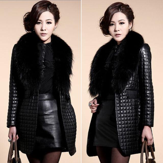 New Winter Warm Women Faux Fur Collar Coat Leather Jacket Parka Overcoat Outwear