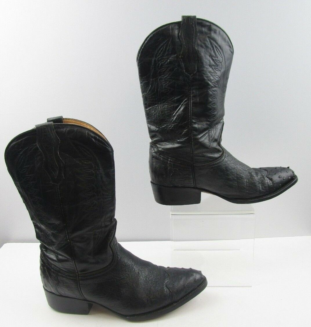 Mens D'Emanuels Black Ostrich Leather Western Boots Size  9