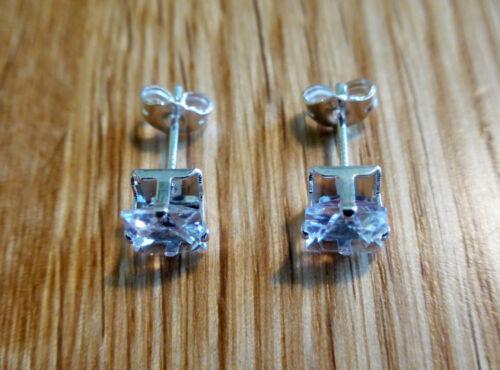 Cuadrado de plata esterlina 925 Cristal Pendientes 6mm CZ Joyería para mujeres damas regalos