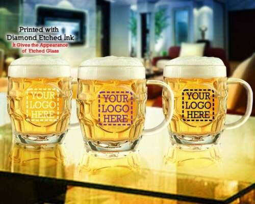 20 oz Custom Printed Brittania w/ Crest Beer Mugs, Personalized Dimpled Beer Mug