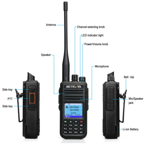 DMR Analog Digital Radio Amateur Radio+Cable UHF//VHF Retevis RT3s GPS Dual Band