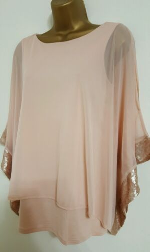 EX M/&Co 8-18 Nude Pink Batwing Sleeves Sequin Embellish Cold Shoulder Top Blouse