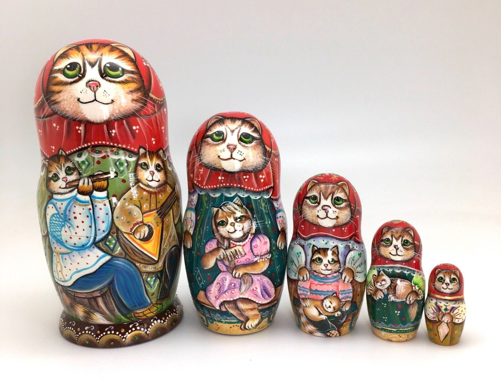 Russian Nesting Doll Cat Family Hand Carved Hand Painted UNIQUE ArtWork