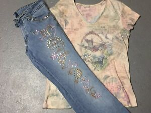Juniors-angels-Jeans-Size-11-Beaded-Sequin-Bird-Top-Paisley-M-L-Outfit-Set
