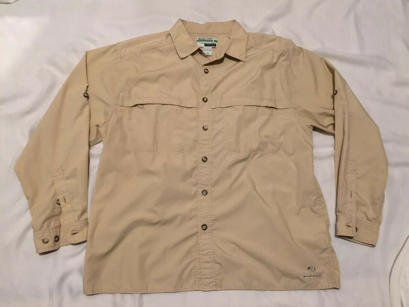 EXOFFICIO BUZZ OFF Insect Shield Mens Fishing Vented Button Front Shirt Sz Large