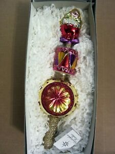 Christopher Radko BIG TOP BEAT FINIAL/Tree Topper/Clown  Christmas Ornament,RARE