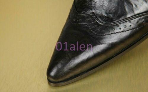 Men's Korean Leather Pointed Toe Cowboy Metal Pointed Toe Lace Zip Ankle Boots