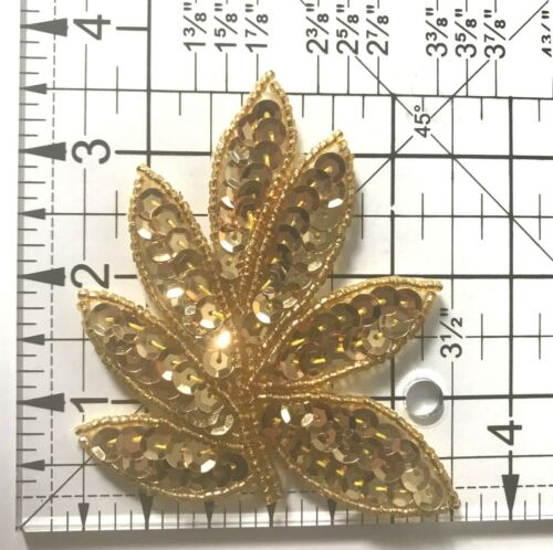 Lot of 2 Leaf Leaves Beaded Sequined Sew-On Sewing Applique Craft Patch Vintage