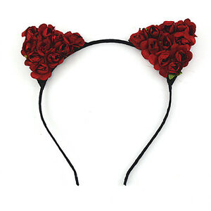 Hot Floral Cat Ears Headband Party Costume Head Hair band Hair Accessory Gifts